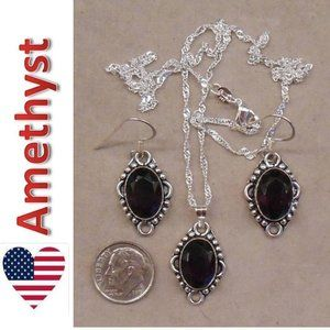 AMETHYST necklace earrings SET 101-08